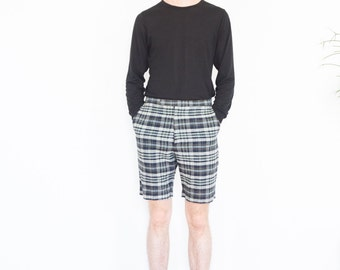 60s Levi's Dark Plaid Tailored Shorts / 30 Waist