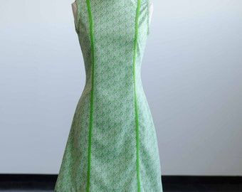Lime Green White Party Dress - 60s MOD - Mad Men - Retro - A Line Floral Pattern - Sleeveless Womens Size Medium