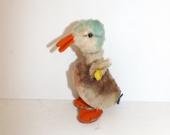 Vintage 1950s Steiff duck bird animal mohair straw filled with button and yellow tag