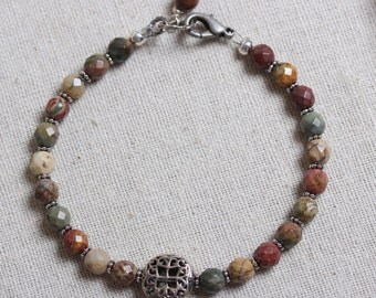 Organic Creek Jasper Bead Bracelet  with Sterling Silver Filigree Focal Bead