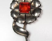 "Vintage Huge Pewter Flower Brooch Pin w Large Red Prong Set Stone 4"" Statement"