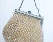 1920 20s Art Deco Flapper cream beaded evening purse handbag