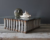 Vintage Weathered Wooden Slatted Crab Trap Coffee Table