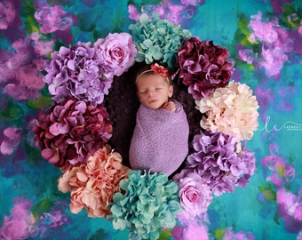 Lilac Iris Wrap AND/OR Headband, perfect for photo shoots, flower measures 1.5 inches, newborn swaddle, bebe, foto, by Lil Miss Sweet Pea
