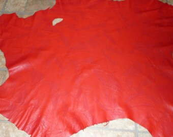 """Leather 5.75 sq ft THIN Abstract Baby Croc RED fine grained ITALIAN Lambskin Hide 1.5-2 oz /0.6-0.8 mm 33""""x25"""" #330 PeggySueAlso"""