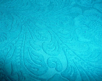 "Suede Leather 8""x10"" Etched DAISY Turquoise  Floral Pressed Design Matte Cowhide 3.5 oz / 1.4 mm PeggySueAlso™ E2875-05"