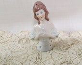 Vintage Half Doll Brunette Pin Cushion Doll Germany Hand Painted Porcelain