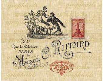 Paris romance Instant Digital download graphic image for iron on fabric transfer burlap decoupage papercraft tag pillow No. 2297