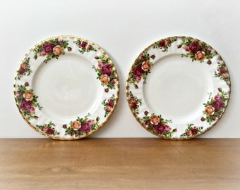 3 Old Country Roses Salad Plates Royal Albert Small China Plates