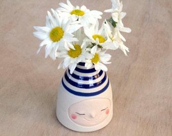 Ink blue striped bud vase, handmade pottery vase, happy face vase, flower vase
