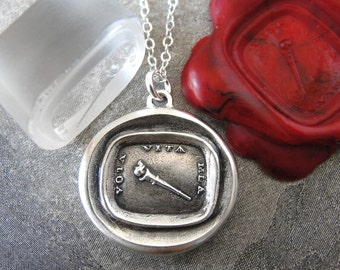 Wax Seal Necklace My Life Is Devoted - antique wax seal charm jewelry with torch - Latin motto by RQP Studio