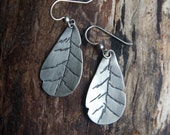 Handmade Sterling silver leaves earrings - artist earrings
