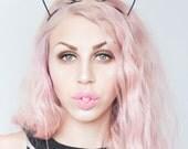 Cute black ribbon wrapped cat ears headband Kawaii