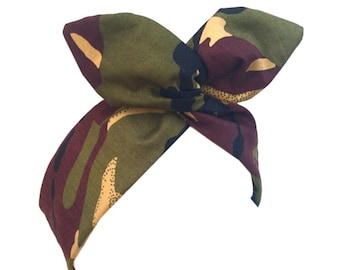 Army girl - camo print - Pin up Rockabilly Wire Headband