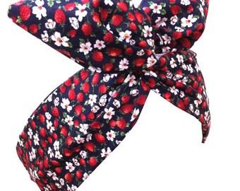 PIN UP ROCKABILLY Navy Blue, Red Strawberry & White Daisy Wire Headband