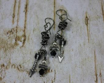 Rustic Bow and Arrow Dangle Earrings, Sterling SILVER Ear Wires, Boho, Southwestern, Western, Cowgirl, Hippie, Bohemian, Rocker, Biker Girl