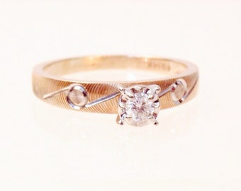 Vintage Diamond Solitaire 14K Engagement Ring, Free Shipping Canada US
