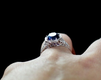 Vintage Blue Sapphire Engagement Ring Fides Antique Filigree Miligrain Round cut 2ct 8mm Custom White-Yellow-Rose gold 10k-14k-18k-platinum