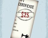 25 Dollar Gift Certificate - Gift Card For Cherishables - CherishablesNJ - Sewn in NJ - Ready to Ship