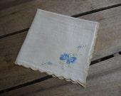 Blue Floral Ladies Handkerchief, Square Hankie, White Blue Flower Hankie, Wedding Hankie, Something Blue, Pocket Square MyVintageTable
