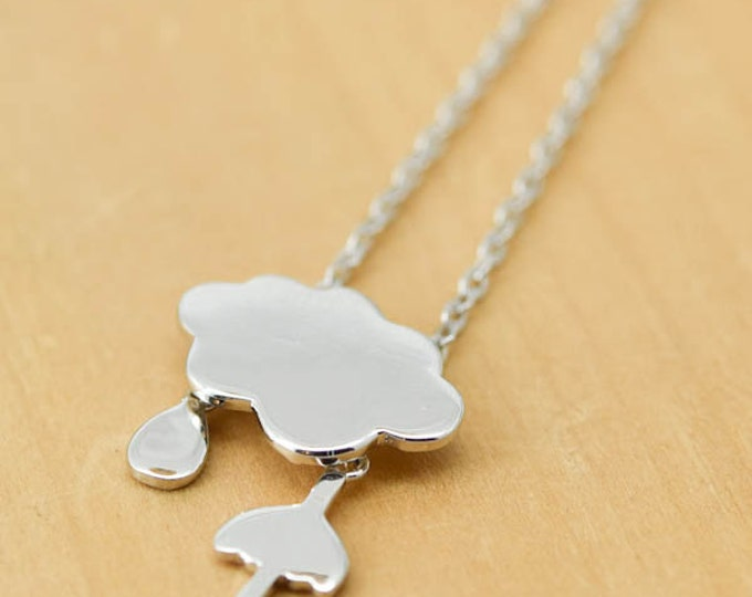 Cloud Umbrella Necklace, Cloud Umbrella Pendant, 925 Sterling Silver, Crystal Necklace Pendant, Bridesmaid Gift, Bridesmaid Necklace