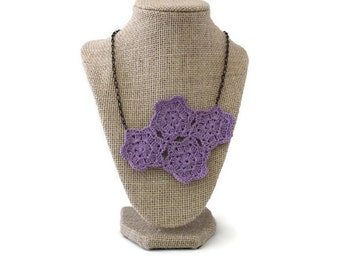 Crochet Necklace - Crochet Jewelry - Purple Necklace - Vegan Necklace - Bib Necklace - Statement Necklace - Necklace - Doily