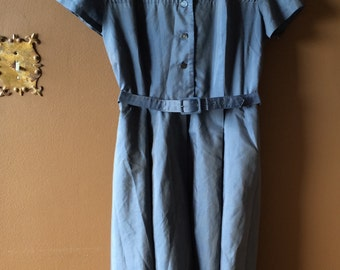 Vintage Dress Blue Grey Gray Shirtwaist Shirt Waist Short Sleeve Knee Length L
