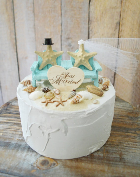 Beach Wedding Chairs 6 Inch Cake Tier Starfish Bride Groom Mr