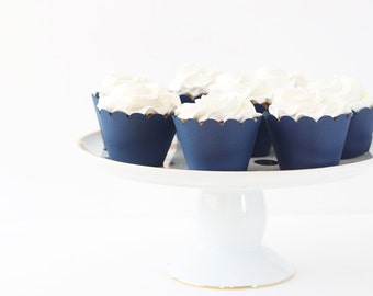 Navy Blue Cupcake Wrappers Navy Blue Party Supplies Cupcake Liners Boy Baby Shower Nautical Party 4th of July Boy Birthday Party / Set of 12