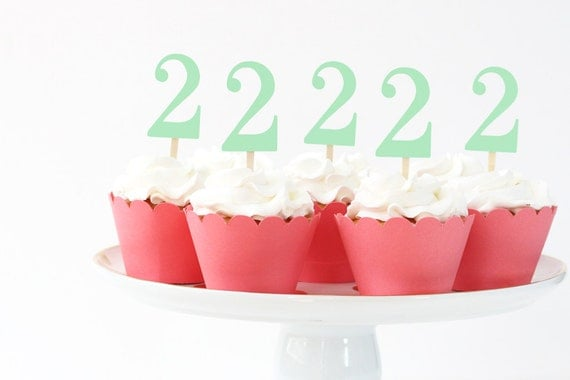 Number Cupcake Toppers Age Cake Topper Girls 2nd Birthday Party Decorations Mint and Coral Party Supplies Boy Birthday Party Cupcake Topper
