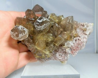 Quartz Crystal Cluster Heavily Rutilated Display Specimen Amazing Quality Display Specimen Minas Gerais, Brazil 584 grams in Weight