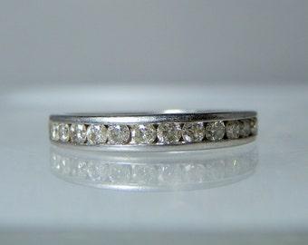 Vintage Platinum Ring Wedding Band Size 6 Platinum and Diamond Ring 950 Platinum 3.44 grams Marked Semi Eternity Band DanPickedMinerals