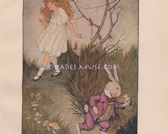 White Rabbit Is Late-Pocket Watch-Alice In Wonderland-Important Date-1916 Old Antique Vintage Art Print-Picture-Children's Book-Wall Decor