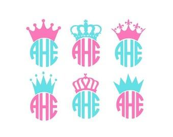 Princess Crown Svg, Crown Svg, Monogram Frame Svg, Monogram Crowns Svg, Queen Svg, King Svg, Silhouette Cut Files, Cricut Cut Files
