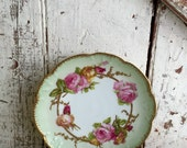 Antique Limoges AK CD scalloped small plate pink roses and yellow roses gold trim 6 1/2 inch