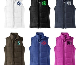 Monogrammed Puffy Vest - Quilted Monogrammed Vest - Women's Preppy Monogram Puffy Vest - Monomgram Women's Vest - Monogrammed Puffy Coat