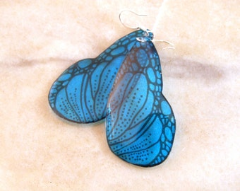 Blue Translucent Butterfly Wing Resin Earrings