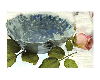 stoneware Dish, serving bowl, bluemollted dish -Pottery Dish, ceramic dish, , gifts under 20   # 125