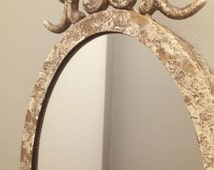 Antique Jewelry Hook Shabby Chic Vintage Oval Cameo Coat Hanger Hat Hook Mirror