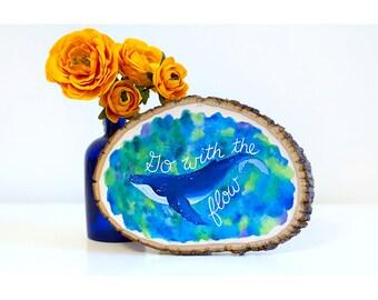 Ocean nursery art, whale wood sign, beach decor, whale painting, nursery wood art, ocean art decor, go with the flow, ocean nursery decor