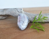 Grey Agate, Natural Agate Necklace, Natural Agate, Agate with Bands, Wire Wrapped Agate, Agate on Cord, Long Necklace with Stone, Agate Rock