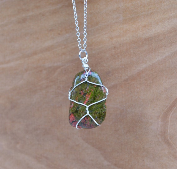 Mens Stone Necklace, Unikite Necklace, Wire Wrapped Unikite, Unikite Jewelry, Green Stone, Unikite, Green Stone, Unikite Stone Necklace