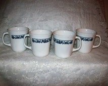 Vintage Old Town Blue Coffee Tea Mugs by Corning Ware Set of 4 Just 8 USD