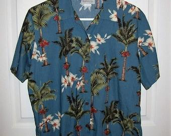 Vintage 1960s Ladies Blue Hawaiian Aloha Shirt by Bishop St Apparel Medium Only 10 USD