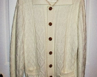 Vintage 1960s Ladies Off White Cardigan Cable Knit Sweater by Jantzen Medium Only 11 USD