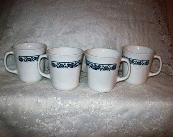 Vintage Old Town Blue Coffee Tea Mugs by Corning Ware Set of 4 Just 6 USD