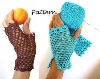 PDF pattern for crochet fishnet fingerless gloves drive gloves party gloves