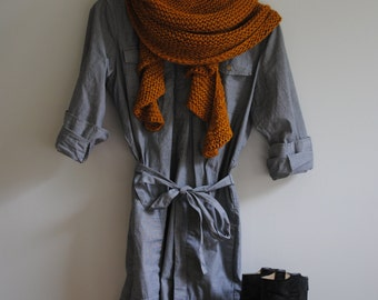 Hand Knit Wrap, Nutmeg