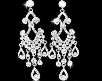 """Chandelier earrings ~ 4"""" Long ~ Rhinestone earrings ~ Sterling Silver posts ~ Bridal jewelry ~ Pageant jewelry ~  Statement earrings"""