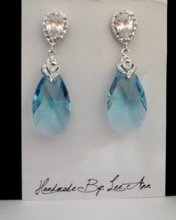 Crystal earrings ~ Aquamarine ~ Swarovski crystal earrings ~ Frameless teardrops ~ Sterling Silver ear posts ~ Bridal jewelry, Gift
